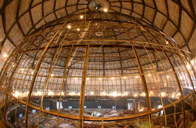 The steel frame of the old plaster planetarium dome right before it was removed, February 2003.                                             (Griffith Observatory)