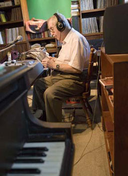 Jim Dougherty has hosted the midnight jazz show on WSUI in Iowa City for 37 years.                                             (Sarah Mercier)