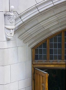 A sculpture of a cadet can be seen at an entrance to Thayer Hall.                                             (West Point)