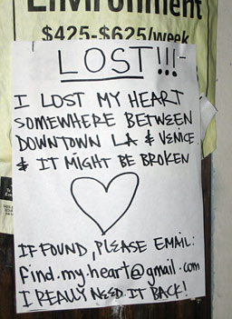 "The ""Lost Heart"" poster.  More than 400 of them have been put up in neighborhoods around Los Angeles.                                             (Krissy Clark)"
