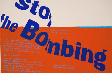 """stop the bombing,"" silkscreen print, 1967.                                             (Corita Art Center/Immaculate Heart Community/Joshua White)"