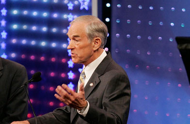 U.S. Representative Ron Paul made a splash at the GOP presidential debate on May 15, 2007 in Columbia, S.C.                                             (Mark Wilson / Getty Images)
