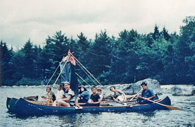 "The ""Delta Rig"" floats in the Penobscot Bay in Maine. It was so named because delta, as a greek letter, was represented by a triangle and there are three canoes. Victoria Silks sits in the back left.                                             (Victoria Silks)"