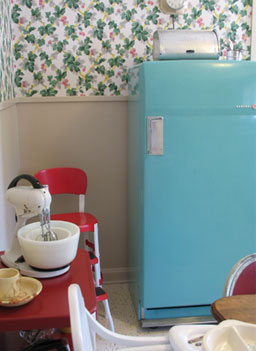 The turquoise refrigerator in the kitchen was donated to the museum by Jenna Welch, George W. Bush's mother-in-law.                                             (Katy Floyd)