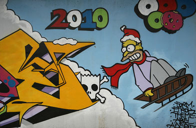 A Simpsons mural in Kerrisdale, Vancouver, B.C. It appears to be in honor of the Vancouver 2010 Winter Olympics.                                             (Scott Beale / Laughing Squid)