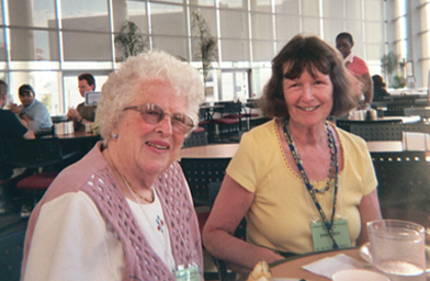 Ellen Eddy (right) and Dorrie Wheeler.  Dorrie wouldn't let the gall bladder surgery she had two weeks ago keep her from a 38th year at the Esperanto summer course.                                             (Krissy Clark)