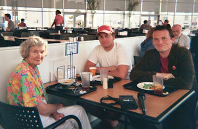 Are you speaking Esperanto right now? Esperantists Mary Fay Marks, a former army captain, Brandan Sowers, a recent college grad, and student Heath Gordon do lunch.                                             (Krissy Clark)