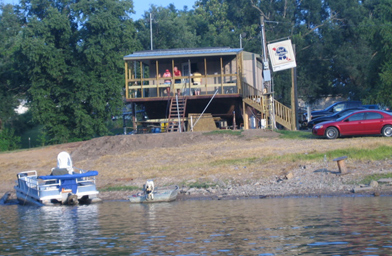 The Boat Tavern is the home of the Redneck Fishing Tournament, where 3,000 people are expected to watch four separate heats where fishermen net the dreaded Asian silverhead carp.                                             (Kelly McEvers)