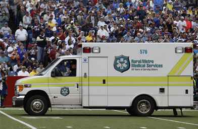 An ambulance on the field waits to transport Kevin Everett of the Buffalo Bills after he was injured during the game against the Denver Broncos on September 9, 2007 at Ralph Wilson Stadium in Orchard Park, New York.                                             (Rick Stewart/Getty Images)