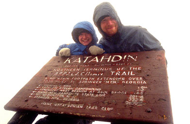 Stephan Frazier and his wife, Stephanie, on the last day of their Appalachian  Trail hike.  Here they are at the top of Mount Katahdin in Maine.                                             (Stephen Fraizer)