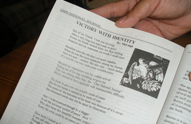 "Sui's poem, ""Victory with Identity,"" in the Chin National Front publication written under the pen name, ""Midnight.""                                             (Kara Oehler)"