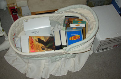This is the top half of the Vogel's son's bassinette, filled with some DVDs, books and framed pictures. To the right is a box of important paperwork. The Allegra box behind it has some sets of tea cups, as does one of the boxes in the bassinette.                                             (John Vogel)