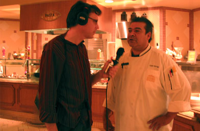 Weekend America host Bill Radke (left) with the chef at the Golden Nugget buffet in Las Vegas.                                             (Suzie Lechtenberg)