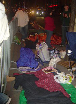 """Saturday Night Live"" stand-by line goers with their sleeping bags and fold out chairs.                                             (Heather Augar)"