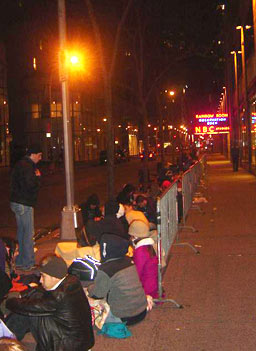 The stand-by ticket line grew throughout the night.                                             (Heather Augar)