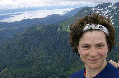 A self-portrait on top of Mt. McGinnis (4228 feet above sea level) on her 39th birthday: July 27, 2007.                                             (Beth Weigel)