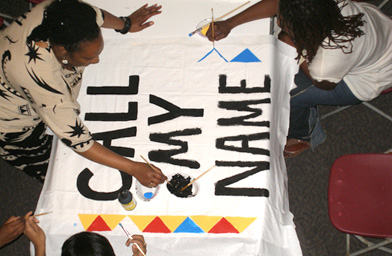 Volunteers working on a quilt panel during one of several Call My Name workshops run by the Atlanta NAMES Project Foundation.                                             (The NAMES Project Foundation, Atlanta, GA)