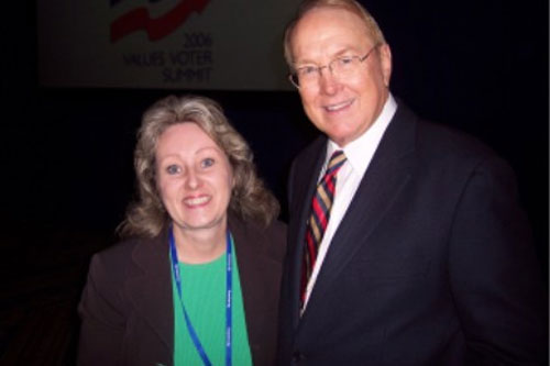 Ohio values voter Diane Stover with Focus and the Family's James Dobson.                                             (Diane Stover)