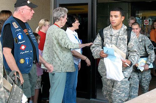 The old international arrivals terminal at Dallas Fort Worth Airport has been turned over to military arrivals. At least 100 soldiers a day come through here.                                             (Julia Barton)
