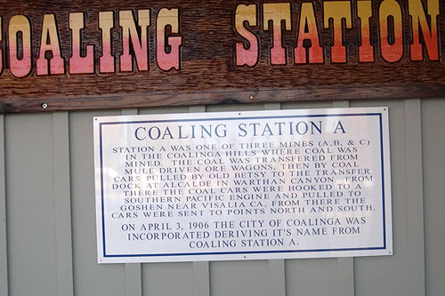 One version of how the town of Coalinga got its name is captured on this sign, hanging on the side of the R.C. Baker Memorial Museum in downtown Coalinga.                                             (Krissy Clark)