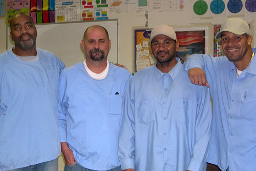 Inmates at Pleasant Valley State Prison in Coalinga.  All four men have life sentences.  Coalinga became one of the fastest growing cities in California when the town decided to annex the prison, and count inmates as new residents.                                             (Krissy Clark)