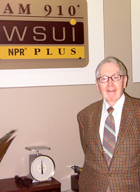 Jim Dougherty at Iowa's WSUI Studios where he now broadcasts a longer show via Internet.                                             (Courtesy Kyle Gassiott)