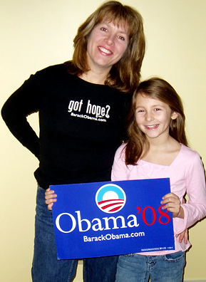 Barbara Petrocelli poses here with her daughter Lizzy, aged 10. Last year, Petrocelli's frustration with the Bush administration spurred her recent involvement with the political process. She spends many weekends canvassing New Hampshire neighborhoods and often brings Lizzie along with her.                                             (William Petrocelli)