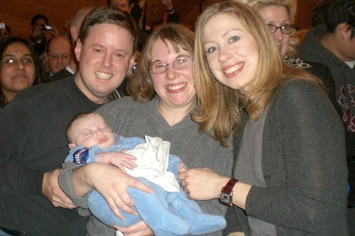 The McNarney family and Chelsea Clinton in Cumming, Iowa on Dec. 26.                                             (Courtesy Michael McNarney)