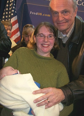 "Baby William and Lauren McNarney pose with former Tenn. senator and ""Law & Order"" cast member Fred Thompson near Thompson's Urbandale campaign headquarters.                                             (Courtesy Michael McNarney)"