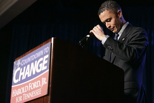 In 2007, Harold Ford, Jr., attempted to become the first African-American senator in the South since Reconstruction. His candidacy polled well in the weeks leading up to the election, but he eventually fell short with 48 percent of the vote. Citing the Bradley Effect, writer Ellis Cose warned of this in an October 30, Newsweek article. Ford is shown here conceding to Republican Bob Corker on November 7, 2006, in Memphis, Tenn.                                             (Chris Hondros / Getty Images)