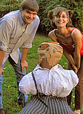 Tamara Neff poses with her partner and the scarecrow they made at a neighbor's Halloween party in fall 2007.                                             (Courtesy Tamara Neff)