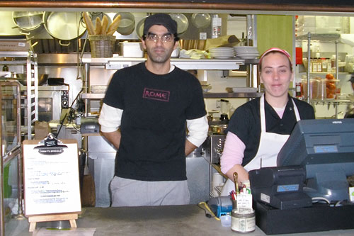 Former New York City chef Hich Elbetri (left) is now the co-owner of Sandwhich in Chapel Hill, N.C., where his culinary creations use homemade bread and artisinal cheeses.                                             (Suzie Lechtenberg)