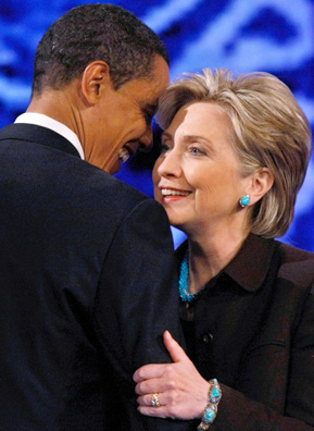 Democratic senators and presidential hopefuls Barack Obama and Hillary Clinton embrace after the Democratic Primary debate held at the Kodak Theatre on January 31st in Los Angeles, California.                                             (David McNew/Getty Images)