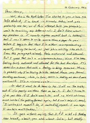 Page one of the letter that Rob wrote to his future wife Nancy in 1997.                                             (Courtesy Rob McGinley Myers)