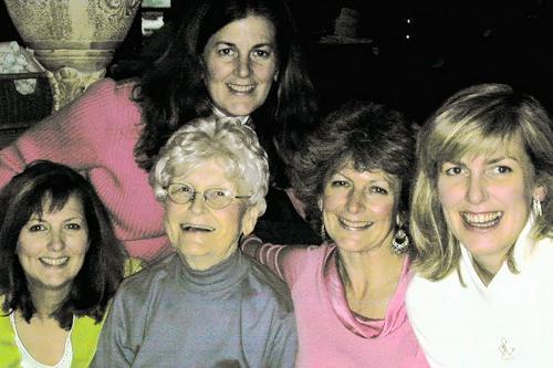 Marie McNulty and her daughters around Christmas in 2005, three months before she passed away:(from left) Colleen, Eileen, Ann and Maureen.                                             (Courtesy Maureen Saxton)