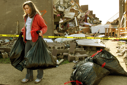 Sophomore Kristin Parnell, with bags of her belongings that she salvaged from her dorm room at Union University in Jackson, Tenn. More than 40 people were victims of tornadoes that tore through Arkansas, Kentucky, Mississippi and Tennessee on Feb. 5, 2008.                                             (Rick Gershon/Getty Images)