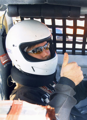 Charlie Schroeder with his helmet on for safety at Drivetech Racing School.                                             (Drivetech Racing School)