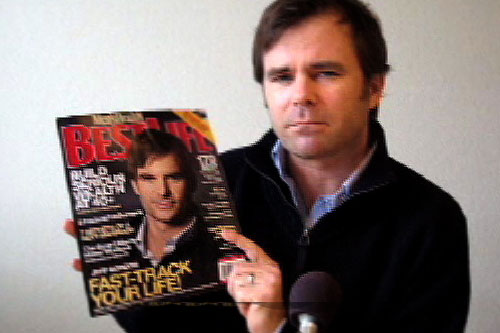 Charlie and his doppelganger Jeff Gordon on the cover of Best Life magazine.                                             (Drivetech Racing School)