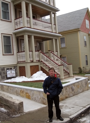 Weekend America reporter Curt Nickisch in front of a historic triple-decker in Jamaica Plain.                                             (Courtesy Curt Nickish)