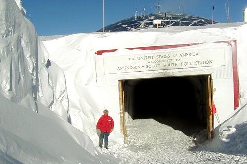 Tift at the entrance to the Amundsen-Scott South Pole Center.                                             (Nathan Tift)