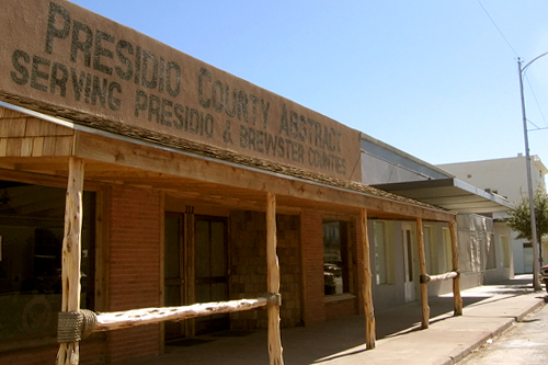 The Presidio County Abstract building is evocative of iconic western movies. It houses a real estate operation and, according to Joani Marginoeot at the Marfa Chamber of Commerce, it is as old as it looks.                                             (Neille Ilel)