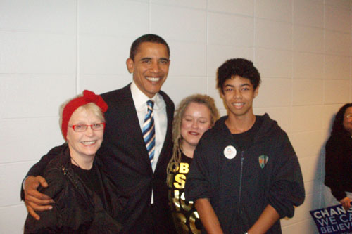 "Weekend America listener Marguerite Harvey is pictured here with (l to r): Barack Obama, her daughter Ruthie and her grandson Harvey.  Marguerite nominated the line ""Gentlemen, you can't fight in here. This is the War Room!""                                             (Courtesy of Marguerite Harvey)"