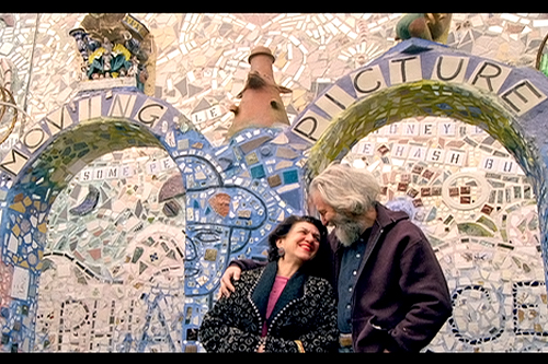 Isaiah and Julia Zagar amidst a mosaic created by Isaiah.                                             (Courtesy Herzliya Films)