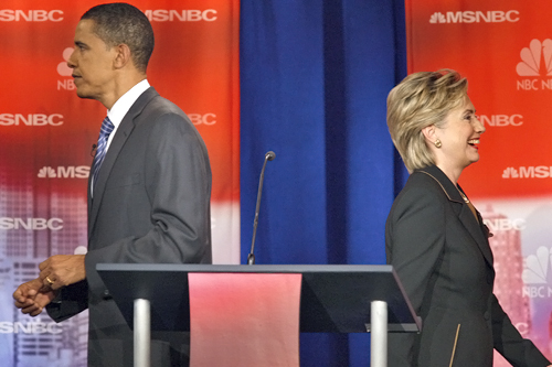 Sen. Hillary Clinton with Sen. Barack Obama at the Democratic debate in Philadelphia five months ago.                                             (Stan Honda/AFP/Getty Images)