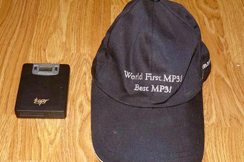 This hat was sent to Weekend America guest Eliot Van Buskirk along with the original MPMan MP3 player next to it.                                             (Courtesy Eliot Van Buskirk)