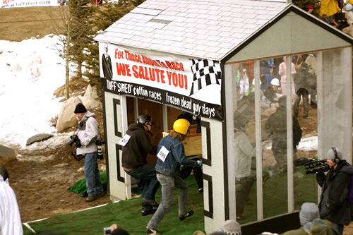 Participants in the 2008 Frozen Dead Guy Days coffin race take off from the starting shed.                                             (Tupstanger/Flickr)