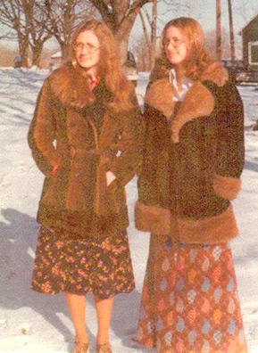 Weekend America listener Kim Hershberger (left) and her twin sister Gay on a snowy Sunday morning in 1977 in Syracuse, Ind.                                             (Courtesy Kim Hershberger)