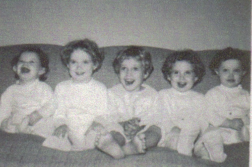 The Grindle sisters in 1961: (from left) Jill, Jan, Deb, Gay and Kim.                                             (Courtesy Kim Hershberger)