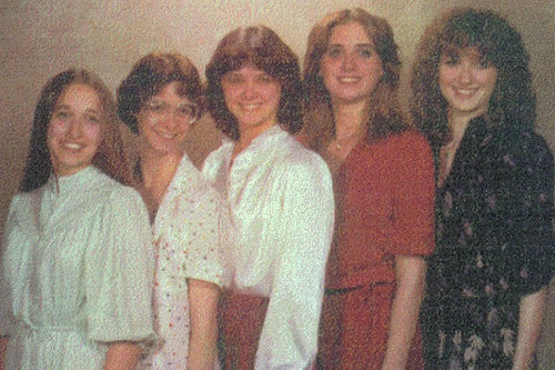 The five Grindle sisters in 1980: (from left) Deb, Jill, Jan, Gay and Kim. Jill and Jan and Gay and Kim are two sets of identical twins.                                             (Courtesy Kim Hershberger)