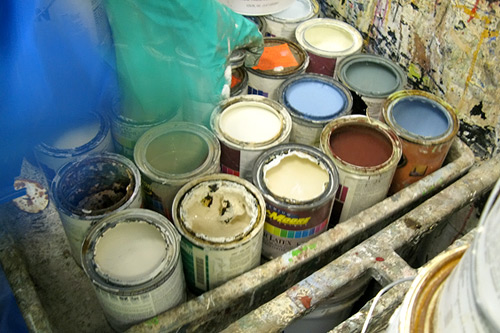 Unused cans of paint ready to be recycled at San Francisco-based Sunset Scavenger waste disposal company.                                             (Nancy Mullane)